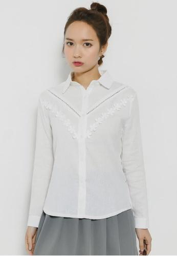 Shopsfashion white Eliina Full Sleeve Shirt CA9CBAA4D3511CGS_1