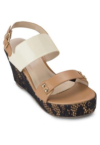 蛇紋厚底楔形鞋, esprit 台中女鞋, 楔形涼鞋