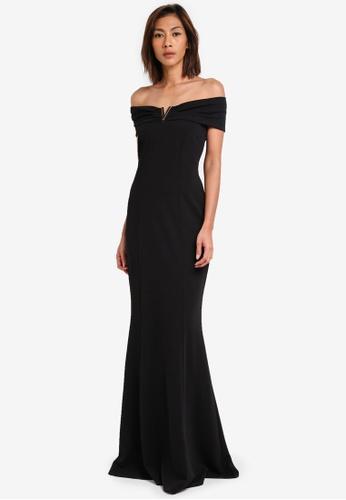 Goddiva black Bardot Maxi Dress With Metal Detail GO975AA0SSC3MY_1