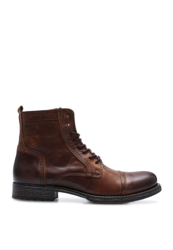 Jack & Jones brown Russel Lace-Up Leather Boots 6E7E2SH42B742AGS_1