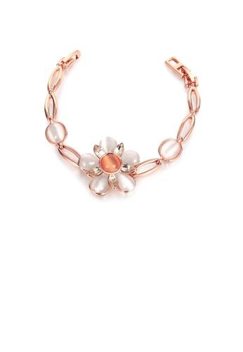 Glamorousky gold Elegant Plated Rose Gold Flower Chrysoberyl Cat Eye Opal Bracelet 02FD2AC6295E9DGS_1