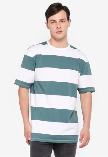 Topman multi Green And White Stripe T-Shirt 52D9DAA99C98E6GS_1