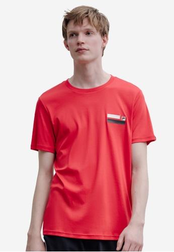 FILA red F-box Logo Cotton T-shirt 166A5AA8C0D3A9GS_1