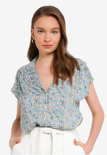 Compania Fantastica blue Floral Pyjama Style Top 7FD81AAE5039E3GS_1