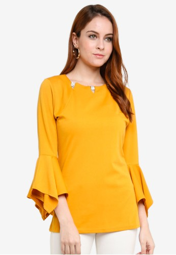 peace collections yellow Embellished Blouse DCCE1AA145066DGS_1