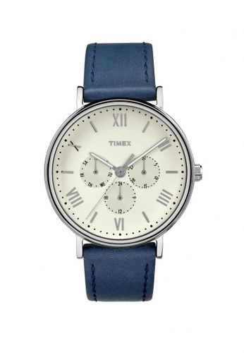 TIMEX blue Timex Southview Multifunction - Blue Leather Strap - Silver Case (TW2R29200) TI857AC89LIGSG_1