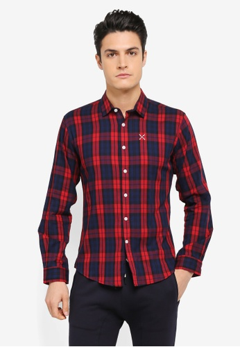 JAXON red and navy Checkered Long Sleeves Shirt 1AF41AA405F396GS_1
