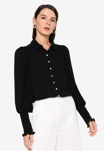 Vero Moda black Zigga Long Shirt Smock Shirt 470D2AA37AF434GS_1