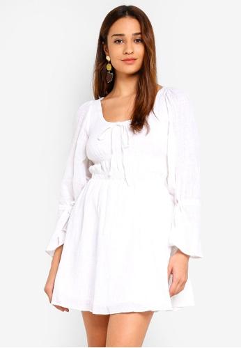 INDIKAH white Poet Sleeve Smocked Waist Chambray Skater Dress F9881AAA05E4D5GS_1
