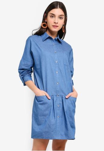 ZALORA blue Chambray Shirt Dress 23D52AA206085DGS_1