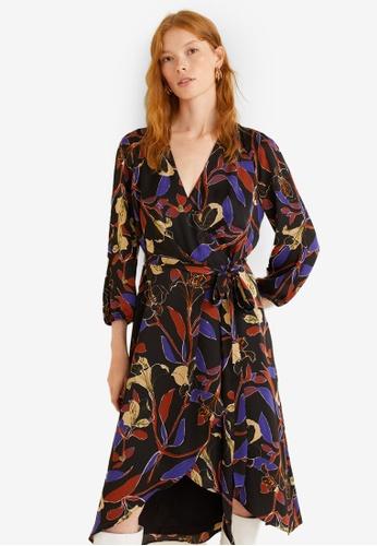 Mango 紫色 花卉綁帶洋裝 661A8AA8CEC2FFGS_1