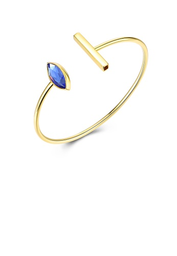 Glamorousky blue 925 Sterling Silver Gold Plated Simple Elegant Fashion Eye Shape Open Bangle with Blue Austrian Element Crystal A4672AC25F4348GS_1