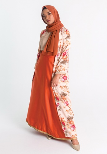 Zaryluq pink and orange Flores Long Outer B9488AA88E84EAGS_1