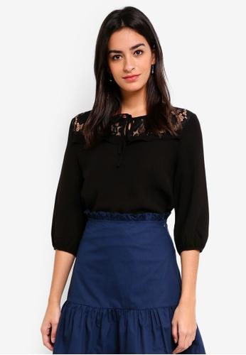 ZALORA black Lace Yoke Long Sleeves Top 69F51AADAB78C6GS_1