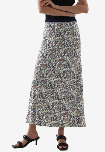 COS green and multi Crepe Slip Skirt 7F757AAADE3518GS_1