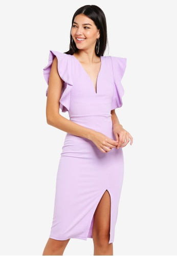 WALG purple Plunge Neck Flutter Sleeve Midi Dress 5FDDEAADAE3787GS_1