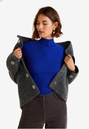 Mango grey Buttoned Wool Jacket 19EDCAA325754AGS_1