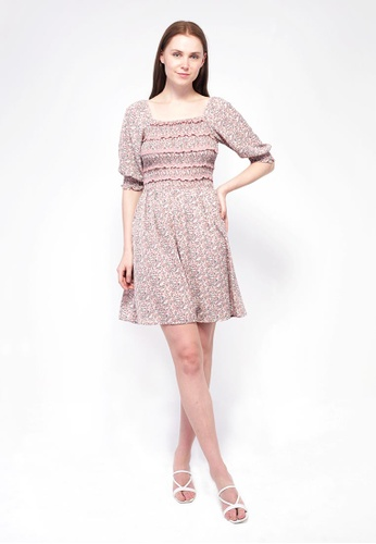 NE Double S pink NE Double S-Square Neckline Puff Sleeve Floral Printed Dress 6C070AA664176BGS_1