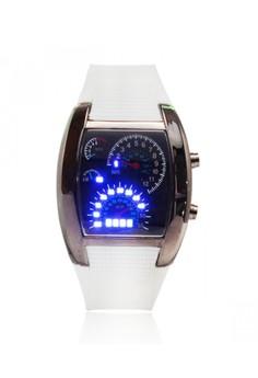 Casual Water Resistant LED Metal Speedometer Watch