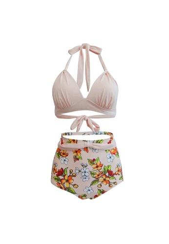 LYCKA beige LAX3003-European Style Lady Two-Piece Swimsuit-Beige 29AD2US07B8359GS_1