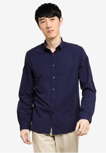 KOTON blue Long Sleeve Shirt D0461AAE028B74GS_1