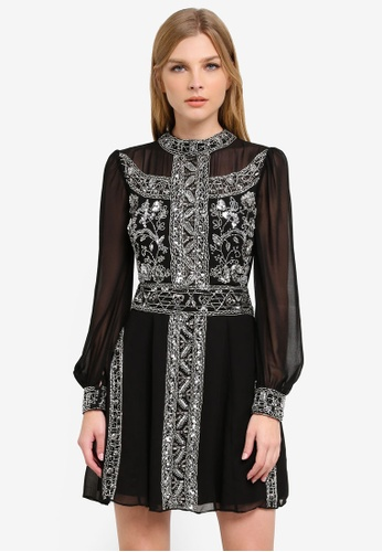 Miss Selfridge black Premium Green Grace Embellished Mini Dress MI665AA0S6FCMY_1