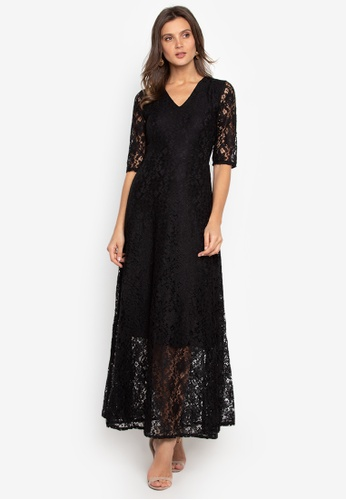 Ashley Collection black V-Neck Lace Maxi Formal Dress 23708AADFE9A7AGS_1
