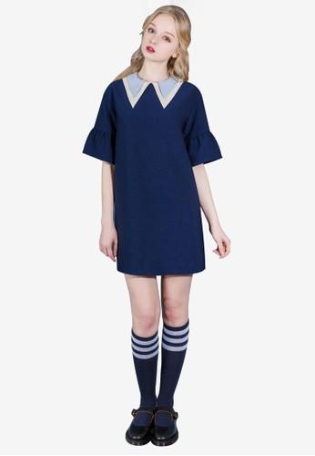 Signature 雙層小尖領迷你連身裙、 服飾、 洋裝debbSignature雙層小尖領迷你連身裙最新折價