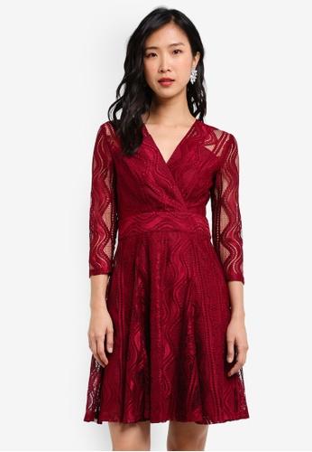 ZALORA red Wrap Front Lace Dress B04D9ZZ24C4C9CGS_1