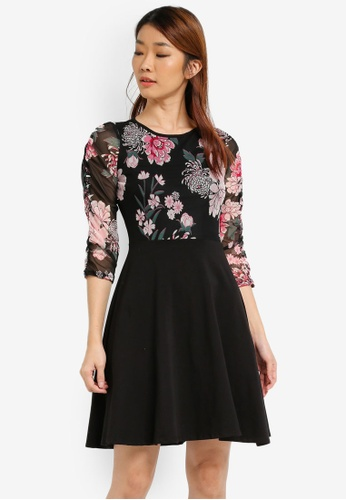 Dorothy Perkins black Floral Mesh Skater Dress DO816AA0SJ6AMY_1