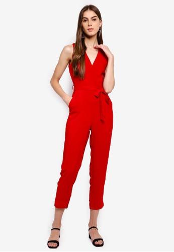 ZALORA 紅色 Sleeveless Wrap Jumpsuit 04C9DAA94C45A4GS_1