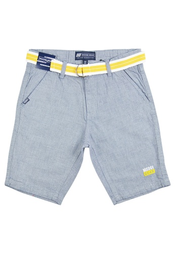 Moose Gear black and grey Checkered Short Pants Twill With Belt For Boys 78C30KAEA3FFEAGS_1