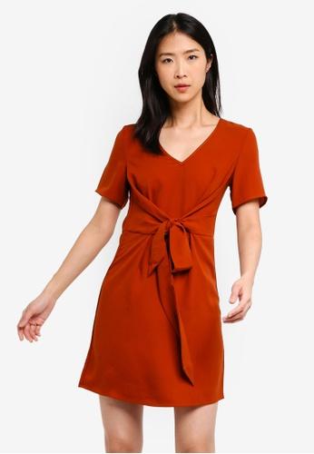 ZALORA BASICS orange Basic Twist Tie Dress E0C2AAAE54B93EGS_1