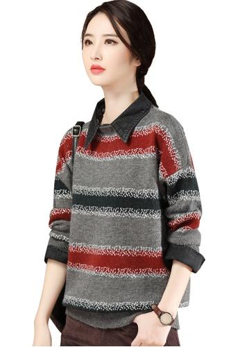 A-IN GIRLS 灰色 and 紅色 假兩件牛仔拼接針織衫 7D2B4AA57B22F1GS_1