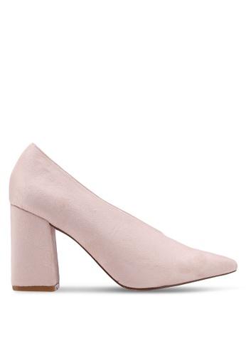 Public Desire beige Spy Point Toe Block Heels D1211SHFBF238CGS_1