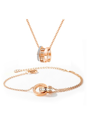YOUNIQ YOUNIQ 18K Rosegold 3 Little Rings Necklace & DAFEN Bracelet Set B5B52AC71AE30AGS_1