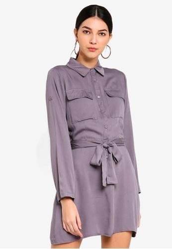 MISSGUIDED grey Tie Waist Utility Shirt Dress 1428BAAF034069GS_1