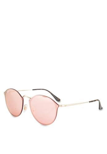 Ray-Ban gold Blaze Round RB3574N Sunglasses RA896GL65GSOMY_1