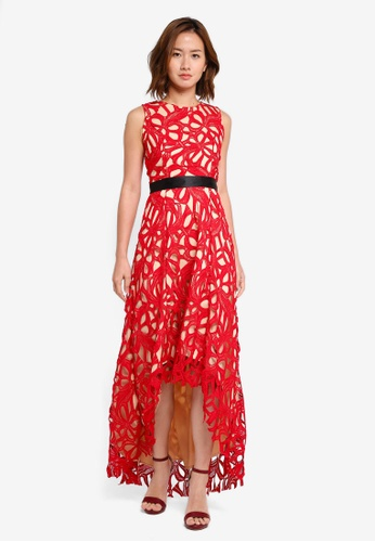 Megane red Red Romance Gisella Full Lace Hi-Low Dress ME617AA0SZWXMY_1