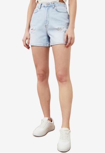 Trendyol 藍色 經典刷破丹寧 短褲 A0A02AAD4CFB15GS_1