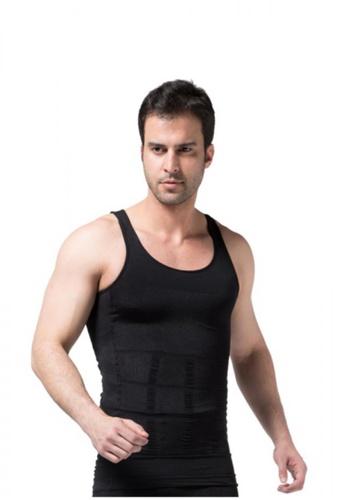 YSoCool black Men Compression Body Shaper Vests Top Black F472FAA872EFB5GS_1