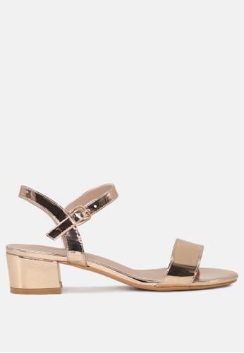 London Rag gold Ankle Strap Low Heel Sandals D0250SH4B18DD7GS_1