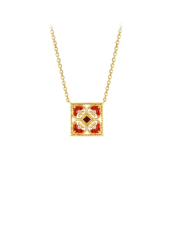 Glamorousky red 925 Sterling Silver Plated Gold Vintage Simple Pattern Geometric Direction Pendant with Red Cubic Zirconia and Necklace 926DEAC43D7503GS_1