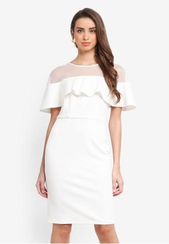 Dorothy Perkins white Mesh Top Ruffle Pencil Dress 3DA03AA21FF39DGS_1