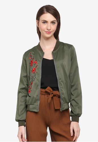BYN green Bomber Jacket with Embroidery 72BFCAA786FC18GS_1