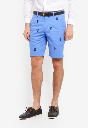 Brooks Brothers 藍色 鳳梨刺繡休閒短褲 26998AA44752CFGS_1