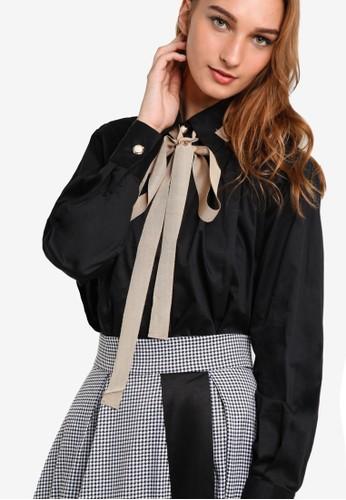 撞色esprit台灣outlet繫帶領褶飾長袖襯衫, 服飾, 襯衫