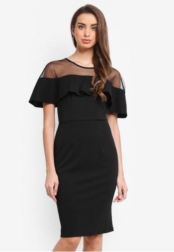 Dorothy Perkins black Mesh Top Ruffle Pencil Dress 3A9E5AAC38873CGS_1