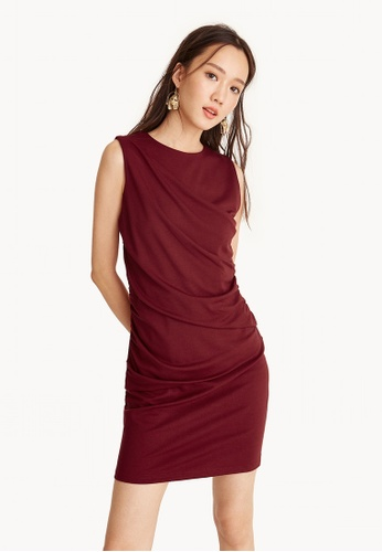 Pomelo red Ruched Round Neck Dress - Red 73785AA6C1FE82GS_1