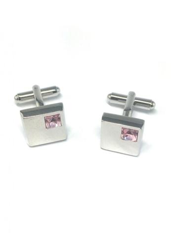 Splice Cufflinks silver Pink Crystal Insert Square Cufflinks SP744AC64FRFSG_1